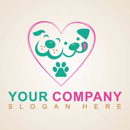 Dog in heart pink pet shop logo