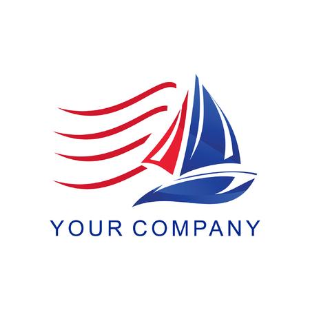 logo de voile bleu et rouge sur le vecteur du vent