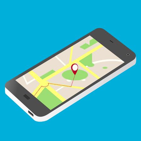 cellular phone and map illustration isometric vector Illusztráció