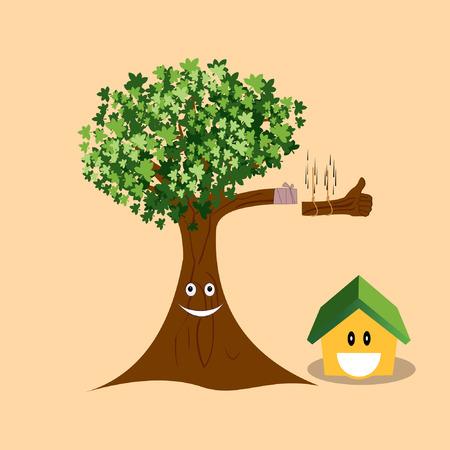 cutting tree and home smile vector Illusztráció