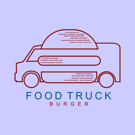 food truck burger line art vintage vector
