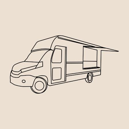 food truck line art black vintage vector Illusztráció