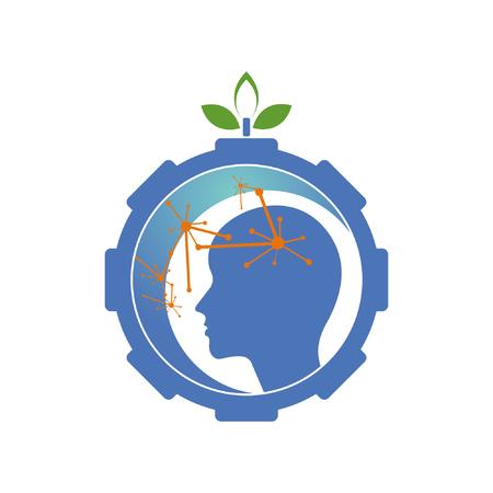machine brain nature combination logo design
