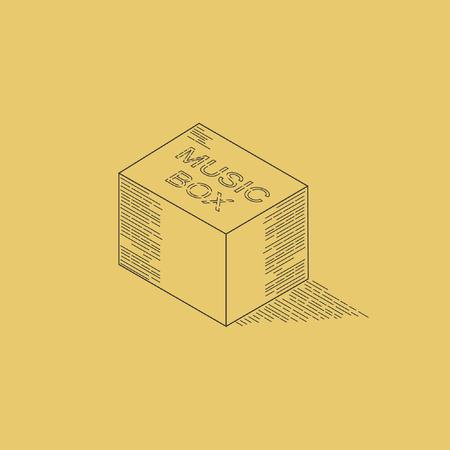 Music box line art isometric illustration vector