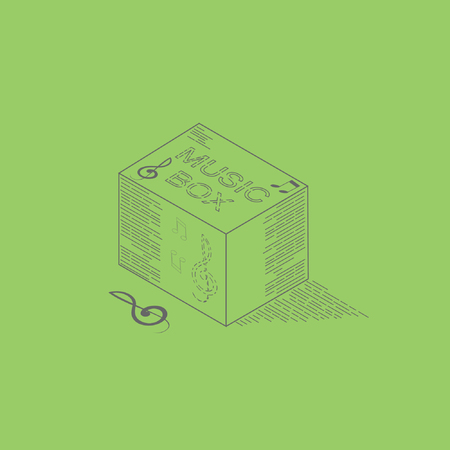 Music box line art with note isometric illustration vector