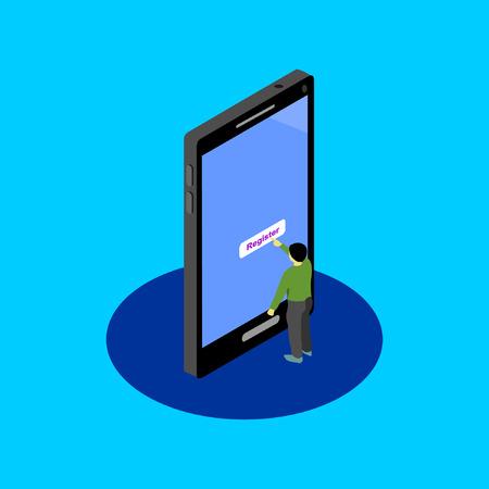 online register by cellular phone isometric vector Illusztráció