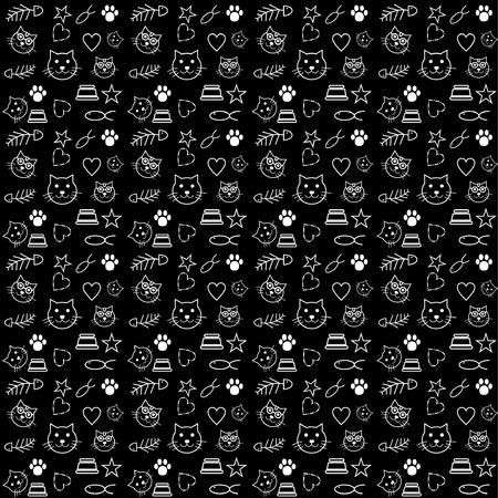 pattern cat lover dark background vector Illusztráció