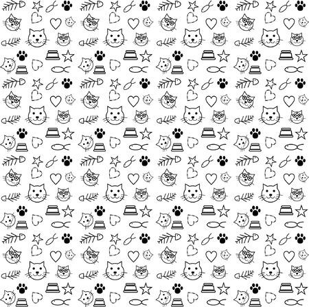 pattern cat lover vector