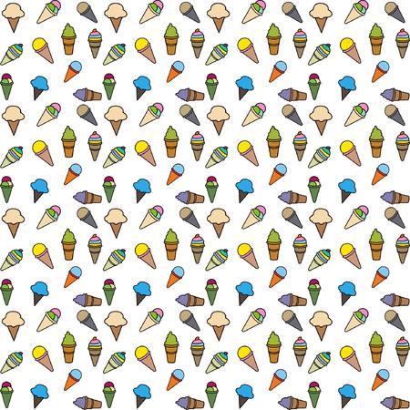 pattern ice cream color vector