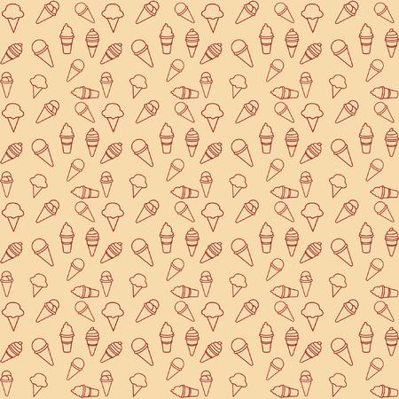 pattern ice cream gray background vector