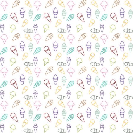 pattern ice cream line color vector Illusztráció