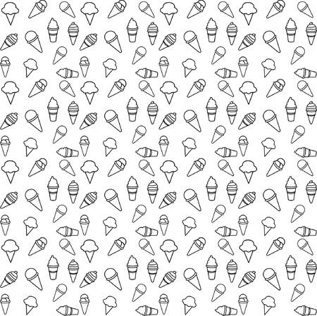 pattern ice cream line vector