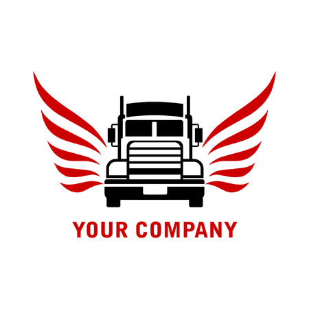truck with angel wing logo vector