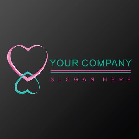 Two hearts 3D logo design