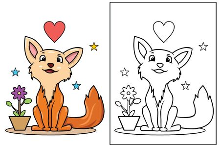 cute wolf coloring page vector