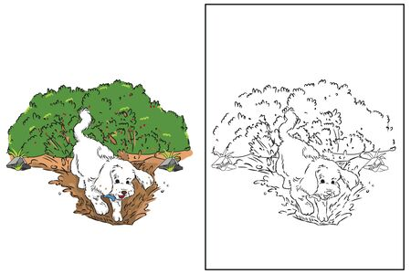 dog dig soil in garden coloring page vector