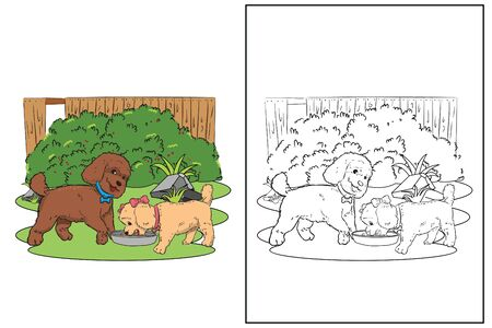 dog in garden eating coloring page vector