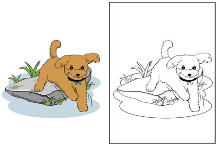 jumping dog in the garden coloring page vector