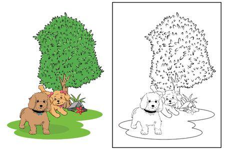 poodle dog in the garden coloring page vector Illusztráció