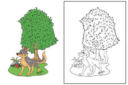wolf standing under tree coloring page vector Illusztráció