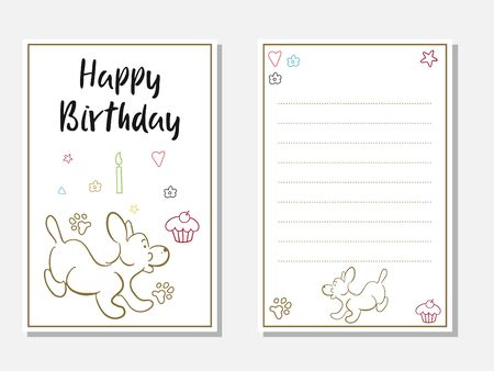 Birthday card cute dog front back vector