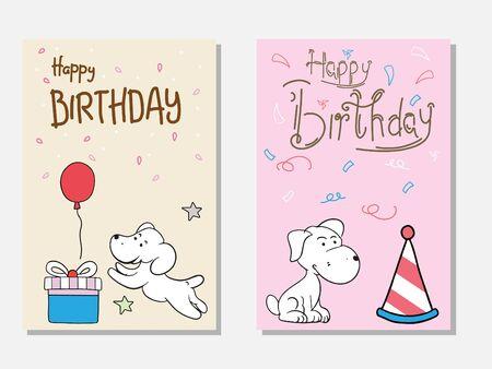 Birthday card doodle cute dog vector Illusztráció