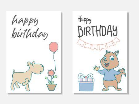 Birthday card soft color cute animal vector