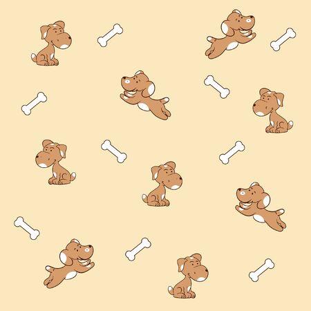 Cute dogs pattern bone vector
