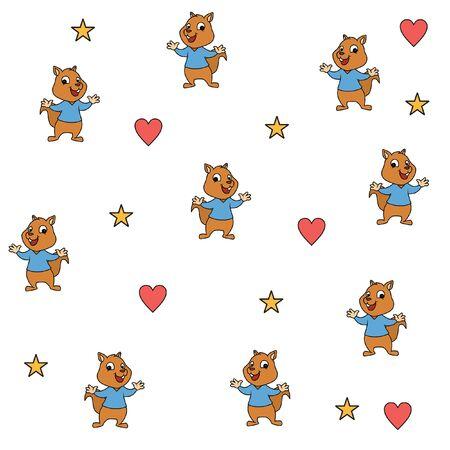 Cute rabbit pattern love star vector Illusztráció