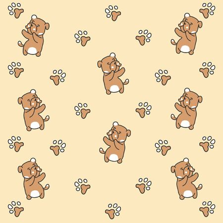 Dancing dog pattern paw vector