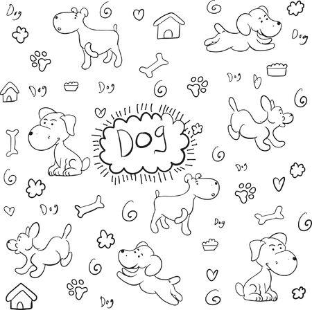 Doodle dog pattern hand draw vector Illusztráció
