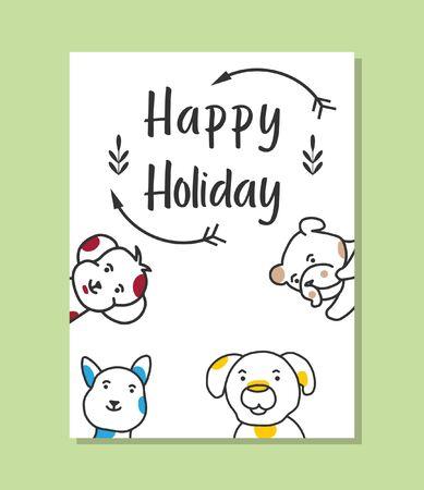 Happy holiday card cute dog vector Illusztráció