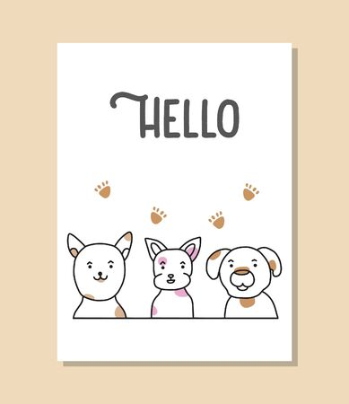 Hello card doodle cute dogs vector Illusztráció