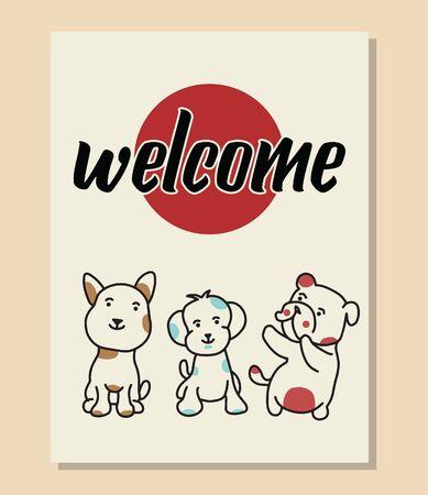 Welcome poster cute dog vector Illusztráció