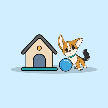 little dog on cage with ball vector