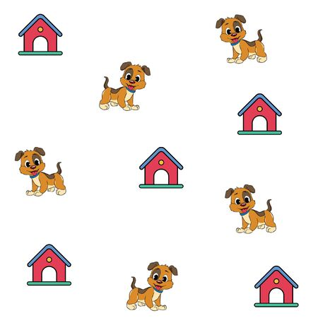 little cute dog cage pattern line art vector Illusztráció