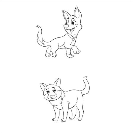 coloring page dog line art vector
