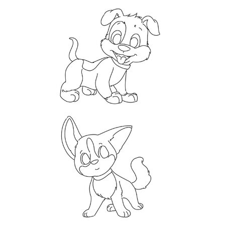 coloring page liitle cute dog line art vector