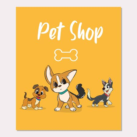 cute pet shop poster design vector