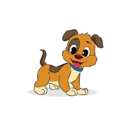 little cute brown dog smile standing vector Illusztráció
