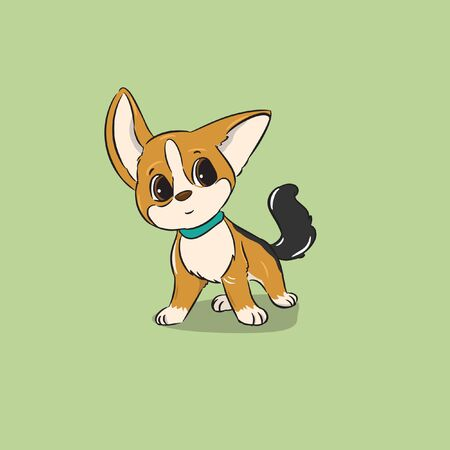 little cute brown dog standing seriusly vector Illusztráció