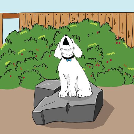 barking dog on stone in garden vector Ilustrace