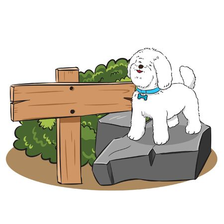 cute dog on stone with wood sign vector Illusztráció