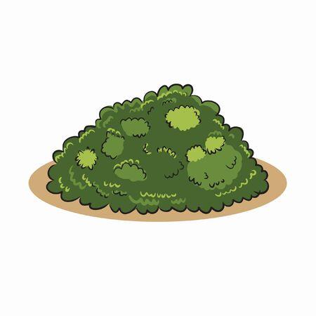 green bush hand draw vector