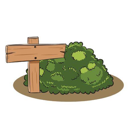 wood sign on the bush vector Illusztráció