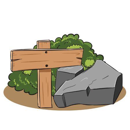 wood sign stone bush environment vector Illusztráció