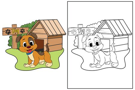 coloring page cute dog sign cage vector