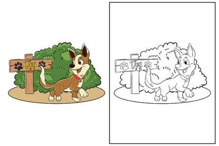 coloring page cute dog sign in garden vector