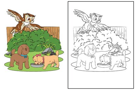 coloring page cute dogs owl in yard vector