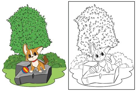 coloring page cute standing dog on stone in garden vector
